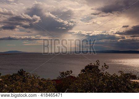 The Light Through The Clouds On The Stara Baska Sea, Krk. Croatia