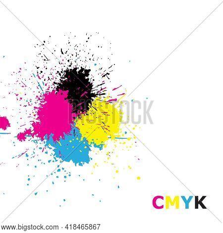 Cmyk Illustration. Cyan Magenta Yellowkey Ink Brush Spot. Grunge Design Templete Background. Jpeg
