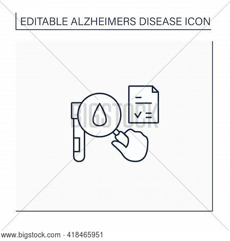 Tests Line Icon. Researching Blood Status. Laboratory Analysis On Blood Sample.alzheimer Diseases. N