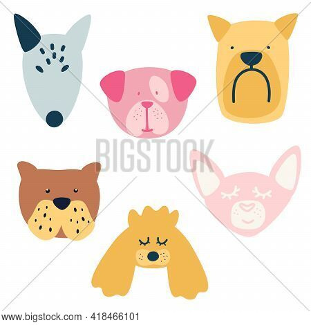 Set  Of Different Breeds Dogs. Bull Terrier, Maltese, Poodle, Bulldog Dog, Chihuahua. Collection Of