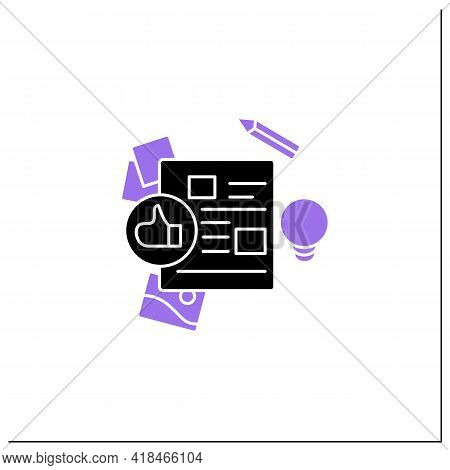 Design Brief Glyph Icon. Document With Core Details Of Upcoming Design Project. Goals, Scope, And St