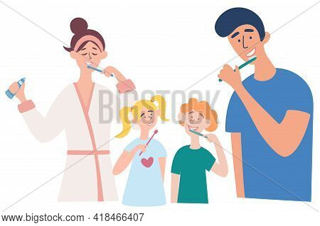 Family Brushing Their Teeth Together. Father, Mother, Son And Daughter Brushing Their Teeth. Picture