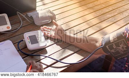 Health Volunteer Check Blood Pressure With Digital Pressure Gauge Standard Blood Pressure Test For H