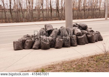 Black trash plastic bags full of autumn leaves. Seasonal cleaning of city streets from fallen leaves. Clearing the earth of rotten leaves. Spring season, foliage. Cleaning service