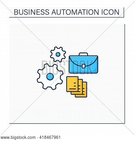 Implementing Business Automation Line Icon. Implementation Process Electronic Technology. Improvemen