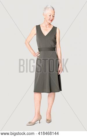 Woman in black midi dress apparel with design space