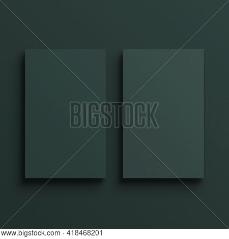 Blank green business card in front and rear view
