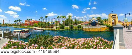 Orlando, Usa - May 8, 2018: The Panorama Of Universal City Walk Near The Entrance Of The Universal S