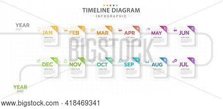 Infographic Template For Business. 12 Months Modern Timeline Diagram Calendar, Presentation Vector I