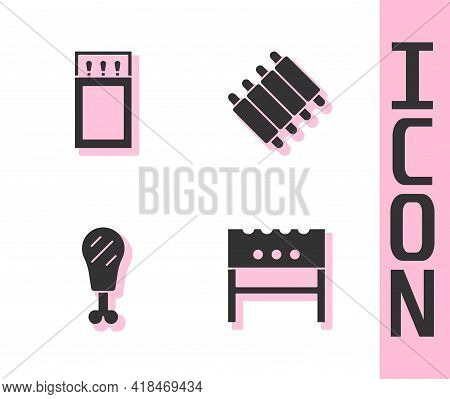 Set Bbq Brazier, Matchbox And Matches, Chicken Leg And Grilled Pork Bbq Ribs Icon. Vector
