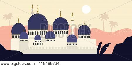 Mosque Landscape. Flat Style. Nature Lanscape With Muslim Mosque. Vector