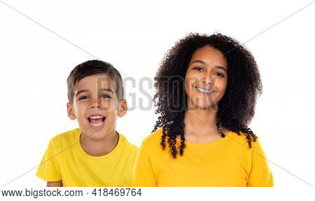 Two happy children with yellow t-shirt isolated on a white background