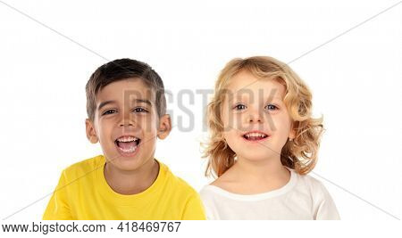 Two different children looking at camera isolated on a white background