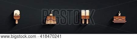 Set Ice Cream, Pudding Custard, And Cake With Burning Candles Icon With Long Shadow. Vector