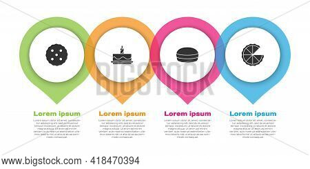 Set Cookie Or Biscuit, Cake With Burning Candles, Macaron Cookie And Homemade Pie. Business Infograp