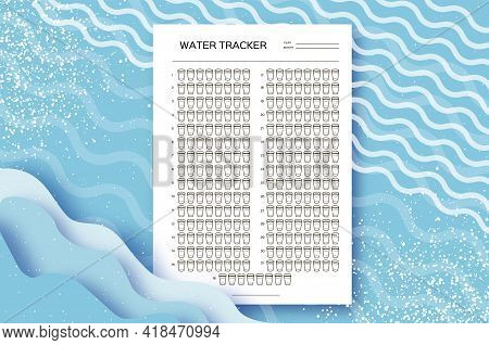 Water Tracker. Water Balance Calendar. Water Monthly Tracker. 31 Days. Hydration Challenge. Blue Bac