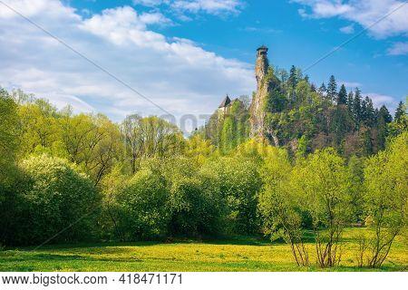 Oravsky Podzamok, Slovakia - May 01, 2019: Castle Tower On The Rock. Beautiful Sunny Landscape In Sp