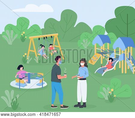 Playground During Pandemic Flat Color Vector Illustration. Kids Playtime During Quarantine. Parents