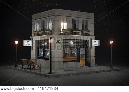 Bank branch office building at night. 3d illustration