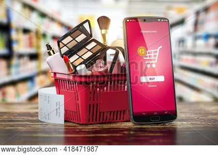 Cosmetics and beauty products buying online concept. Shopping basket with makeup products and mobile phone on shelf of cosmaetics shop. 3d illustration
