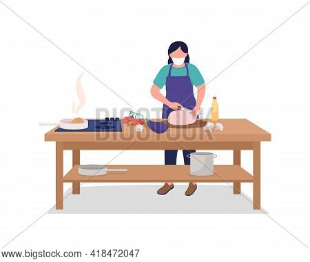 Female Chef In Face Mask Flat Color Vector Faceless Character. Safety During Public Event. Cooking,
