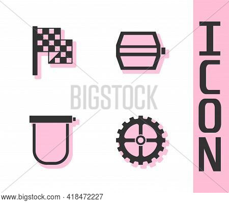 Set Bicycle Sprocket Crank, Checkered Flag, Lock And Pedal Icon. Vector
