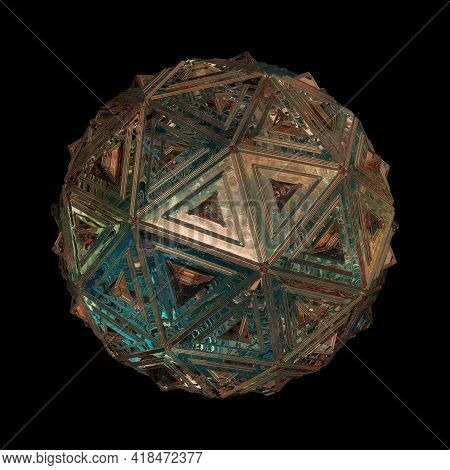 Sci-fi Sphere Isolated On Black Background, 3d