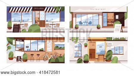 Facades Of Modern Cafes, Coffee Shops And Restaurants With Summer Terraces And Furniture On Street.