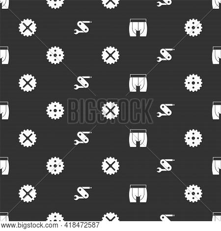 Set Cycling Shorts, Bicycle Sprocket Crank, And Swiss Army Knife On Seamless Pattern. Vector