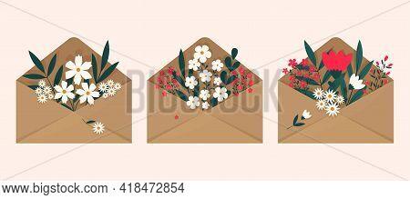 A Set Of Flowers Inside An Envelope On A Light Background. Flat Illustration Design. Illustration Of