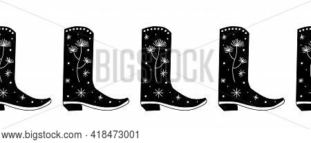Cowboy Boots Seamless Vector Border. Repeating Horizontal Pattern Cowgirl Shoes. Use For Fabric Trim