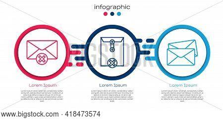Set Line Delete Envelope, Delete Envelope And Envelope. Business Infographic Template. Vector