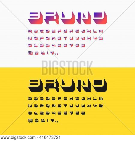 Three-dimensional Characters In Isometry. Alphabet Font. Capital Letters Of The Latin Alphabet.