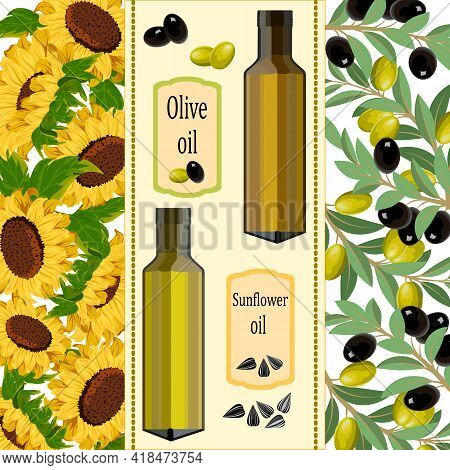 Illustration With Olive And Sunflower Oil.sunflowers, Olives And Oil Bottles In Color Vector Illustr