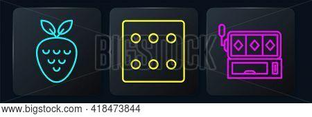 Set Line Casino Slot Machine With Strawberry, Slot Machine And Game Dice. Black Square Button. Vecto