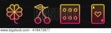 Set Line Game Dice, Casino Slot Machine With Clover, Casino Slot Machine With Cherry And Playing Car