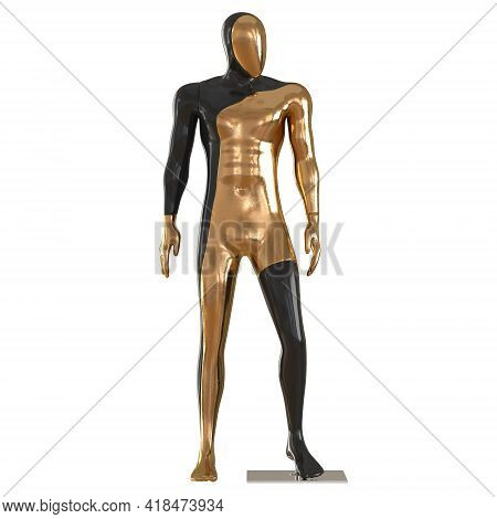 A Male Black Gold Mannequin Stands With Its Head Turned To The Side On An Isolated Background. 3d Re