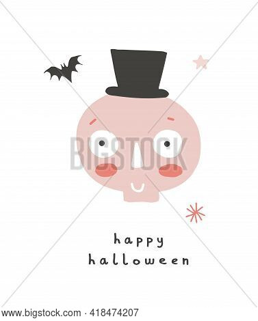 Funny Hand Drawn Halloween Print. Cute Halloween Cartoon. Infantile Style. Happy Pink Skull And Litt