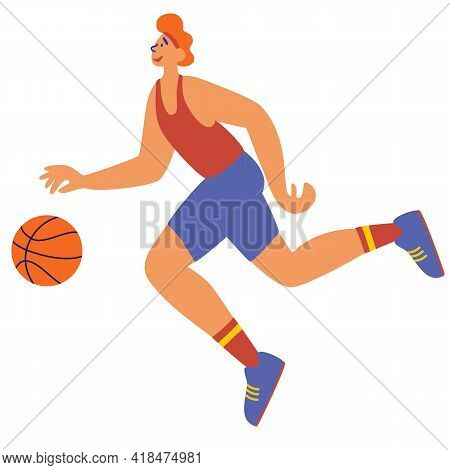 Sportsmen Training With Ball. Young Man Skilled Sportsman In Uniform Running, Playing Soccer. Sport