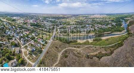 Small Agrarian City With Fields And Streets, Stavropol Krai.