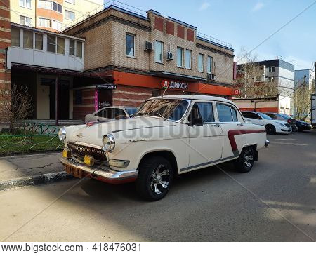 Moscow, Russia - April 17, 2021: Old Russian Car Gaz-21 Volga, Soviet Union Car. Close-up View Of Th