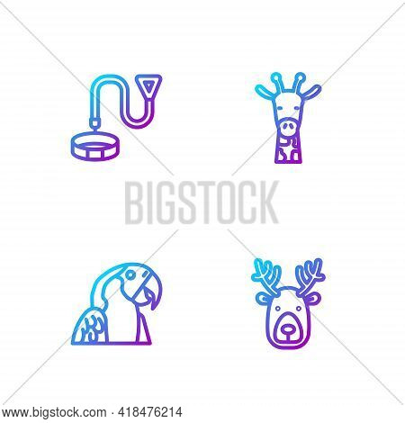 Set Line Deer Head With Antlers, Macaw Parrot, Collar Name Tag And Giraffe. Gradient Color Icons. Ve