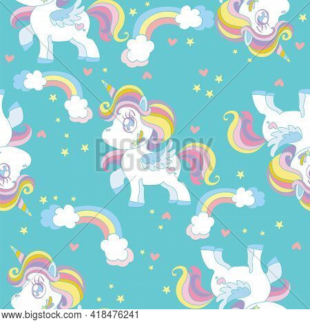 Seamless Pattern With Cute Cartoon Unicorns And Rainbows On Turquoise Background. Vector Illustratio