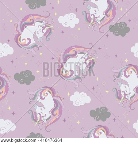 Seamless Pattern With Beautiful Unicorns Heads And Clouds On Purple Background. Vector Illustration