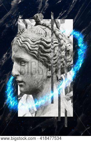 Beautiful ancient Greek woman head sculpture