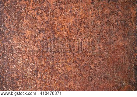 Brown Rust Background, Corrosion On A Metal Surface. Worn Metal Texture