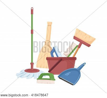 Household Plastic Tools Such As Broom, Mop, Bucket, Scoop And Brushes For Cleanup. Manual Domestic S