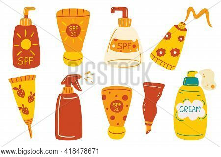 Set Of Bottles With Sunscreens. Protection For The Skin From Solar Ultraviolet Light. Sunscreen Crea