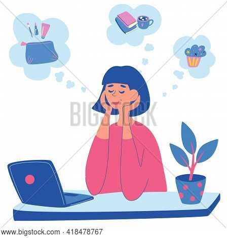 Young Woman Is Sitting At The Table With Laptop And Thinking About Something. A Girl Dreams Of Cosme