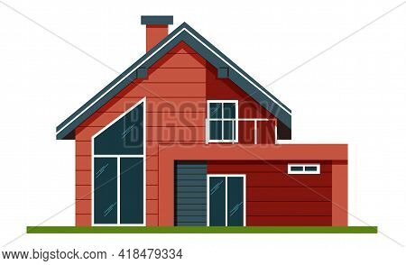 House Facade . Colorful Flat Residential Hous. Private House. Architecture. Exterior. House. Adverti